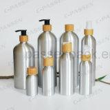 Kosmetische Aluminiumflasche mit Bambuslotion-Pumpe (PPC-ACB-065)