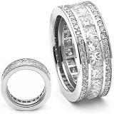 Monili dell'argento sterlina della fascia 925 dell'anello di cerimonia nuziale con il diamante dell'ammortizzatore