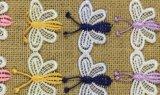 Água do laço do bordado da borboleta da alta qualidade - guarnição solúvel