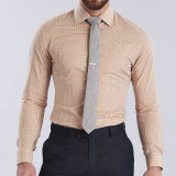 Camisa delgada de los hombres de PUNTO de las camisas 2016 del ajuste de la funda del cortocircuito del diseño de la manera