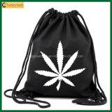Saco preto orgânico simples da trouxa do Drawstring do algodão do saco de escola (TP-dB264)