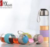 Glas 500ml Sports Wasser-Flasche mit Silikon-Hülse/beweglicher Glastrinkwasser-Flasche/kundenspezifischer Glaswasser-Flasche