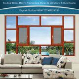 خشبيّة حبّة لون ألومنيوم نافذة ثابتة مع يقسى زجاج