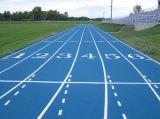 スポーツ界のための青い合成物質かプラスチック連続したトラックまたは走路または格子縞