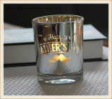 Чашка держателя для свечи статьей праздника плакировкой стеклянная