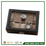 Kundenspezifischer schwarzer Luxus PU-lederner hölzerner Uhr-Kasten