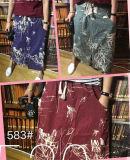 綴じひもが付いている日本様式の高ウエストのCotton&Linenの前部スリットスカート