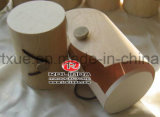 ロゴの未完成シリンダー形の木箱