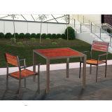 De gemakkelijk-schoonmaakt Openlucht Vierkante Eettafel van het Zonnescherm van het Terras van het Meubilair van het Terras met het Voetstuk van het Roestvrij staal