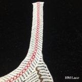 26*43cm königliche französische Baumwolle farbige Muffen-Spitze-Ordnung mit dem dick gezeigten Streifen-Franse-Ordnungs-Stickerei-weiblichen Bekleidungszubehör, das Spitze Hm204 trimmt