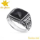 Anel de dedo de pedra afortunado do aço inoxidável da forma