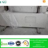 Partie supérieure du comptoir préfabriquée blanche brumeuse de quartz de Carrare pour la salle de bains