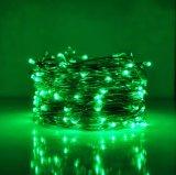 Couleur verte du fil DEL de Noël de corde de batterie décorative argentée de la lumière aa