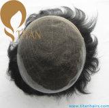 Q6人のための黒いカラーの基礎Remyの人間の毛髪のToupee