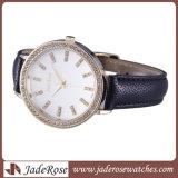 元の水晶動きのステンレス鋼カバー防水革ダイヤモンドの腕時計