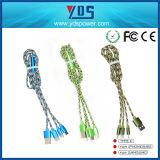5FT 6FT 10FT 3 в 1 Типе-C зарядного кабеля заплели передвижной кабель USB обязанности данных