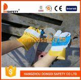 Graues Kuh-aufgeteiltes blaues Leder verstärkte Handschuh-Gelb-Baumwollrücken-Sicherheits-Handschuhe Dlc324