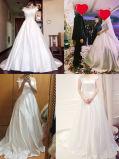 Train sans manche de cour arrière de tirette de robe de bille de mariage de satin (W727)