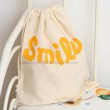Мешок Drawstring хлопко-бумажная ткани логосов печатание подарка Topfly выдвиженческий