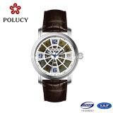 Fait dans des montres-bracelet mécaniques de bande de cuir de cadran de cavité de montre d'hommes de la Chine