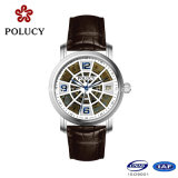 Feito na China Men Watch Hollow Dial Leather Band relógios mecânicos de pulso