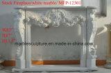 Cornija de lareira da chaminé do mármore da bordadura da flor branca no estoque (SY- MFP-12301)