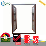 Exterior da cor de madeira, porta dupla com vidros duplos