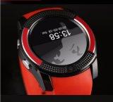 安いスポーツ円形スクリーンSIMのカードのメモリはV8の人間の特徴をもつスマートな腕時計の携帯電話を伸ばす