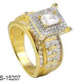 14k het goud plateerde 925 Zilveren Ringen van de Manier van het Zirkoon