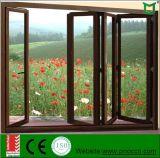 電気泳動の緩和されたガラスが付いているアルミニウムプロフィールのアコーディオンのガラス窓中国製