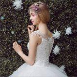 Würdevolles bördelndes Spitze-Tulle-überlagernballkleid-Hochzeits-Kleid (Dream-100077)