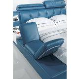 Korea-Art-modernes echtes Leder-Sofa-Bett für Schlafzimmer-Möbel - Fb8152