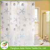 Shells Starfish Clear PEVA Bathroom Shower Curtain with Hooks