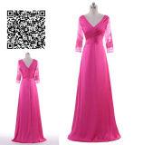 AラインかLong Sleeve V Neck王女の実物大のサテンのプロムの服
