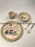 La vaisselle en bambou respectueuse de l'environnement de fibre badine 5 parties de jeu de dîner avec la cuvette de cuvette de plaque