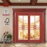 Европейской дверь твердой древесины типа запятнанная таможней стеклянная (GSP3-023)