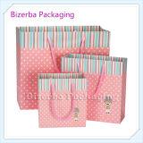 Sac de empaquetage de papier d'impression de couleur rose