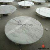 White Volakas Marble Round Stone Table Top pour Maisons, Hôtel