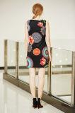 [سليفلسّ] مستديرة عنق [ديجتل] طباعة خاصّ بالأزهار [تثنيك] ثوب مع [كي هول] أماميّ