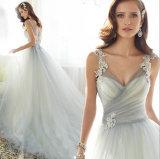 2017のコレクションのAラインのテュルのウェディングドレスの花嫁衣装の服(夢100005)
