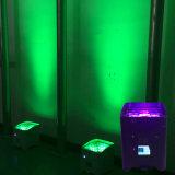 Rasha 코어 5in1 Rgbaw UV 배터리 전원을 사용하는 WiFi APP Irc 먼 LED 동위 빛 사건을%s 지능적인 이동할 수 있는 단계 빛