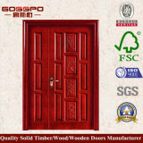 Double porte d'entrée en bois solide de Chambre de porte d'oscillation (XS1-012)