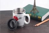 Tazza di corsa del caffè dell'acciaio inossidabile con esterno di ceramica e la maniglia
