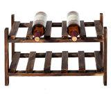 Écran de bois classique en bois de 2 niveaux 10 bouteilles
