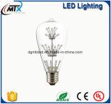 LED-Edison Birne Glühlampe E27 3W Weinleseedison-LED, ST64 LED Heizfaden-helle Glaslampe, warme weiße energiesparende Lampen helles AC220V