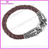 Brown flocht Stahlzeit-Leder-Seil-Drache-Armband
