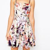 Form-V-Tauchen schönes Blumensublimation-Abend-Kleid mit Stutzen