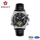 Homens automáticos pretos dos relógios do couro genuíno de Polucy