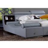 Серая кровать кожи цвета для пользы спальни (FB8155)