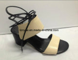 Lady Kid Leather Square Heel Women Sandals Take The Rope